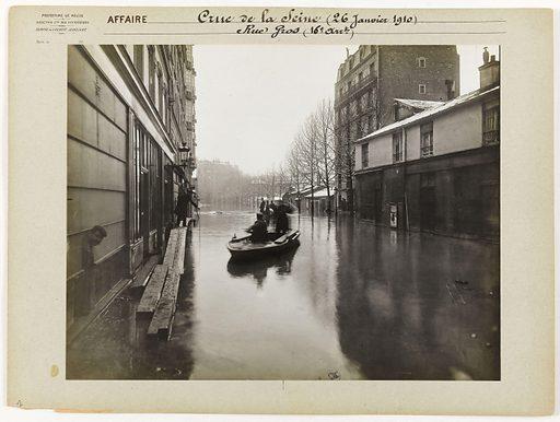 View of rue Gros during the Seine flood, 16th arrondissement, Paris