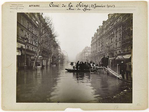 View of the rue de Lyon during the flood of the Seine, 12th arrondissement, Paris