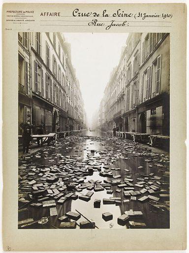 Rue Jacob during the Seine flood, 6th arrondissement, Paris