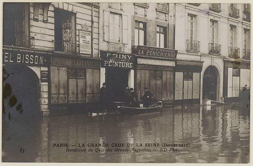 Paris. – The Grande Crue de la Seine Flooding of the Quai des Grands-Augustins.