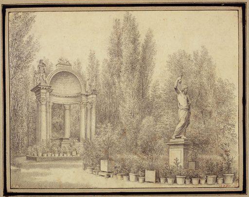 Le tombeau de Montmorency dans le jardin des Petits-Augustins, actuel 6ème arrondissement. Date de création: 1811–1821. Numéro d'object: CARD00731.