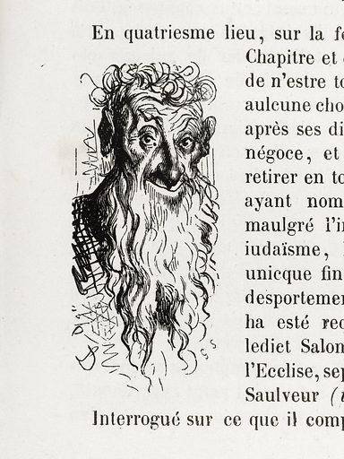 Salomon al Rastchild, lequel, maulgré l'infamie de sa personne, son iudaïsme, ha esté ouy. Date de création: 1855. Numéro d'object: BAL2015.6.1.277.