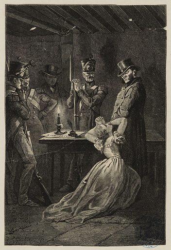 [Les Misérables, Première partie: Fantine] Fantine aux pieds de Javert. Date de création: vers 1879. Numéro d'object: MVHPE2017.0.1539.