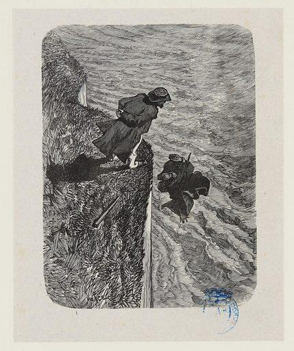 """Les Travailleurs de la mer, Première partie, Livre cinquième:""""On vit ses deux semelles le temps d'un éclair"""". Date de création: vers 1882. Numéro d'object: MVHPE2017.0.1765."""
