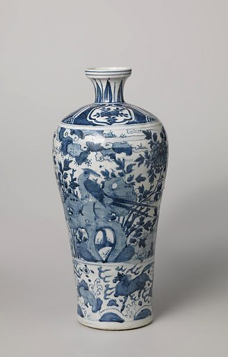 Vase with pheasants and horses in landscapes. Origin: China. Date: c 1575 – c 1599. Object ID: AK-MAK-1164.