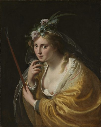 This alluring shepherdess would never have been engaged in the tending of sheep. She inhabits an idealized pastoral paradise called Arcadia. Dutch 17th-century poetry repeatedly sang the praises of this imaginary land. The shepherdesses there were invariably seductive and licentious. Moreelse made many attractive paintings of this subject matter. Date: 1630. Object ID: SK-A-276.