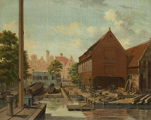 The Shipyard 'D'Hollandsche Tuin' on Bickers Eiland, Amsterdam. Date: 1823. Object ID: SK-C-1539.