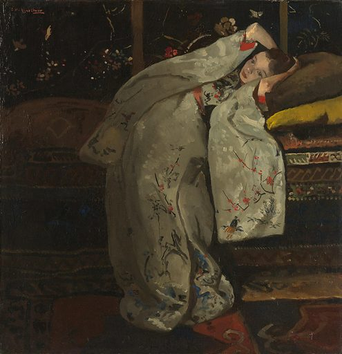 Inspired by Japanese prints, between 1893 and 1896 Breitner made thirteen paintings of a girl in a kimono. She assumes different poses and the kimono often has a different colour. What catches the eye here is the embroidered, white silk kimono with red-trimmed sleeves and an orange sash. The dreamy girl is sixteenyear-old Geesje Kwak, a seamstress and one of Breitner's regular models. Origin: Amsterdam. Date: 1894. Object ID: SK-A-3584.