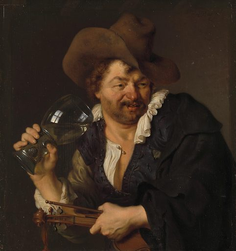 That this musician is jolly is clear from his large glass of white wine. And that this is not his first drink can be deduced from his dazed expression, red nose and open, dishevelled shirt. These kinds of amusing paintings by Leiden fijnschilders ('fine painters'), such as Ary de Vois, found a ready public – perfectly executed and highly entertaining. Date: 1660 – 1680. Object ID: SK-A-457.