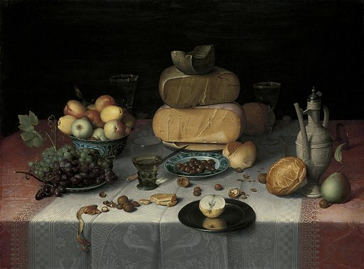 Fruit, bread, and cheese – grouped by type – are set on a table covered with costly damask tablecloths. The illusion of reality is astounding; the pewter plate extending over the edge of the table seems close enough to touch. The Haarlem painter Floris van Dijck ranked among the pioneers of Dutch still-life painting. Date: c 1615. Object ID: SK-A-4821.