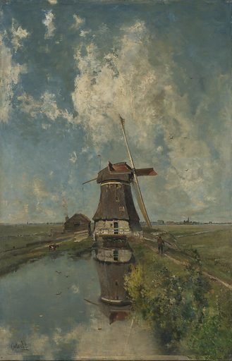 'Our country is saturated with colour…. I repeat, our country is not grey, not even in grey weather, nor are the dunes grey', wrote Constant Gabriël in a letter. Unlike many Hague School painters, he actually enjoyed depicting a beautiful summer day. There are even two of them in this painting: the image of the grass, sky and mill, and their reflection in the water. Date: c 1889. Object ID: SK-A-1505.