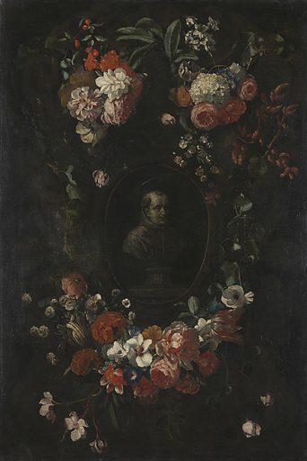 Wreath of Flowers encircling a Portrait of Hieronymus van Weert, Martyr of Gorkum. Date: 1676. Object ID: SK-A-800.