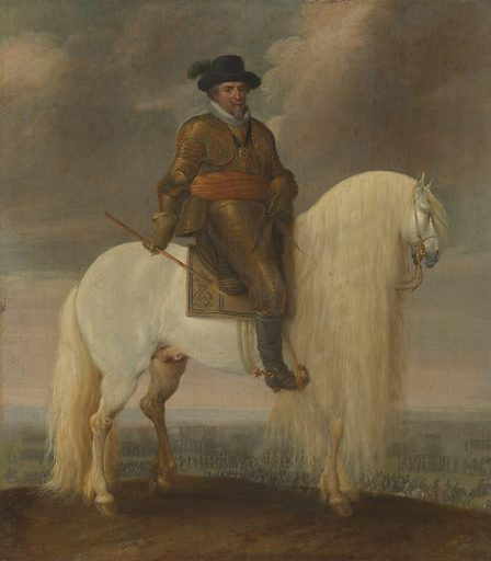 Prince Maurits astride the White Warhorse presented to him after his Victory at Nieuwpoort. Date: c 1633 – c 1635. Object ID: SK-A-3125.