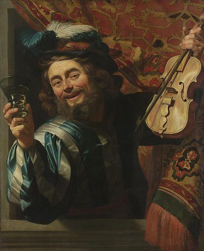 The man wearing extravagant Italian-looking clothing takes us by surprise. He appears from behind a tapestry and leans out of the window. He tries to engage with the viewer in order to clink glasses. So lifelike and convincing is Honthorst's rendering that the fiddler seems to have slipped out from the frame of the painting to join us. Date: 1623. Object ID: SK-A-180.