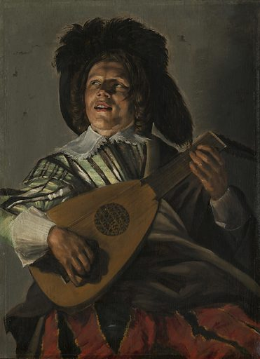 The singing lute-player is depicted di sotto in su, from a low vantage point. His extravagant red breeches with yellowish-gold and black stripes are slightly out of focus, creating the illusion that the viewer is looking up at him from close by. Judith Leyster was one of the very few professional female painters of her time. Date: 1629. Object ID: SK-A-2326.