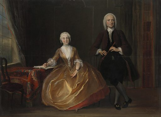 Music-making flourished within families during the 18th century. The man here evidently plays the recorder; his wife turns the corner of a page of a music book. Behind them a full bookcase can be seen behind a slightly open curtain. Besides being a sign of refinement, the making of music together can serve as an allusion to a harmonious marriage. Date: 1743. Object ID: SK-A-4115.