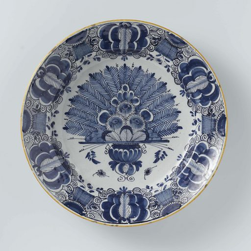 Dish, painted with peacock tail decoration
