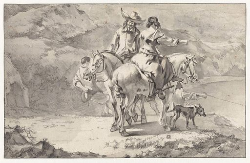 Couple on Horseback at a Mountain Lake. Date: after 1656. Object ID: RP-T-1897-A-3333.