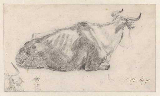 Recumbent Cow Facing Right, with Fragment of a Cow's Head. Date: c 1660 – c 1665. Object ID: RP-T-1883-A-273(R).