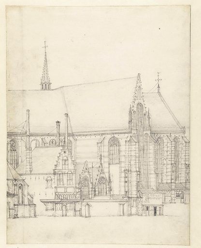 View of the Sint Bavo in Haarlem. Date: 1600 – 1699. Object ID: RP-T-1888-A-1560.