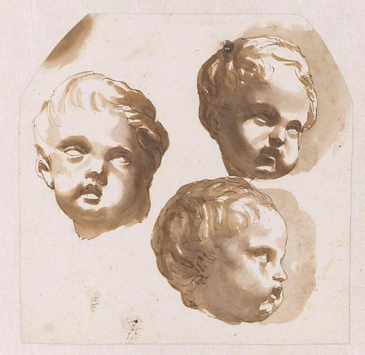 Child's head seen from three sides. Date: 1648 – 1671. Object ID: RP-T-1989-119.