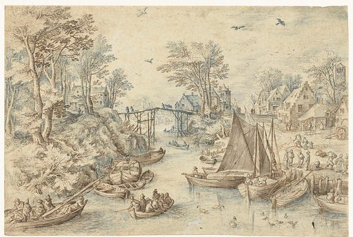 Village, cut by a busy river. Date: 1595 – 1675. Object ID: RP-T-1919-34.
