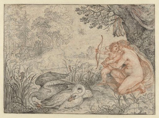 Venus, the goddess of love, urges her son Cupid to shoot his arrow at Pluto, ruler of the underworld. Pluto thus becomes inflamed with love for Proserpine, the daughter of a god, whom he carries off to his dark underworld kingdom. The drawing served as a model for an engraving by Crispijn van de Passe the Younger. This engraving was part of a series of illustrations for Ovid's Metamorphoses. Date: 1586 – 1639. Object ID: RP-T-1918-229.