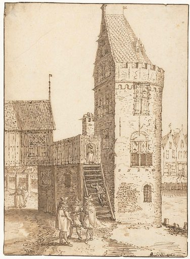 The Swijgh Utrecht tower in Amsterdam. Date: 1599 – 1609. Object ID: RP-T-1899-A-4225.