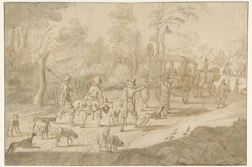 First company in a carriage, followed by servants with falcons and hunting dogs. Date: 1583. Object ID: RP-T-1890-A-2409.