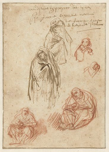 Studies of the Mourning Magdalen and the Virgin. Origin: Amsterdam. Date: c 1635 – c 1636. Object ID: RP-T-1947-213.