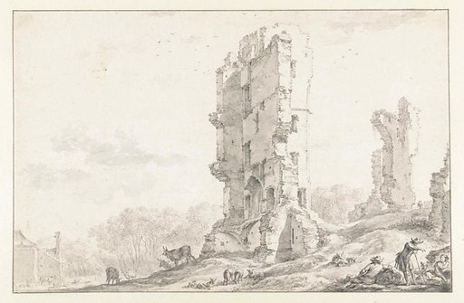 View of the ruin of the Huis te Kleef near Haarlem. Date: 1630 – 1683. Object ID: RP-T-1879-A-23.