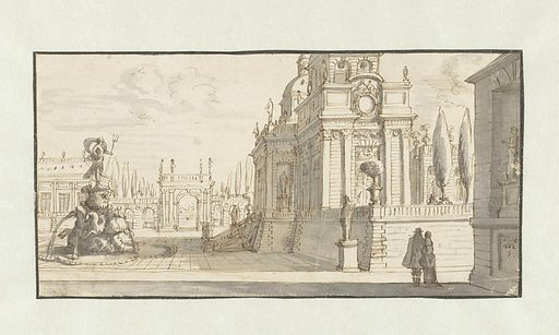Square in front of a Renaissance palace. Date: 1662. Object ID: RP-T-1959-121.
