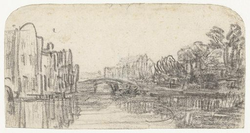 In Rembrandt's time, the Nieuwezijds Voorburgwal was still an imposing canal. He stood here with his sketchbook, facing south. With considerable virtuosity and speed, he drew the houses and trees on both sides of the canal and the Weessluis, the bridge between the St Luciënsteeg and the Rosmarijnsteeg. He suggested the gentle motion of the water's surface with just a few chalk strokes. Origin: Amsterdam. Date: c 1647. Object ID: RP-T-1930-64.