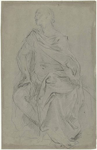Study for a seated crowned figure. Date: 1625 – 1635. Object ID: RP-T-1948-342.