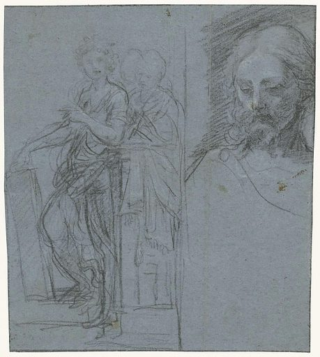 Study sheet with standing women and a Christ head. Date: 1631 – 1661. Object ID: RP-T-1968-358(R).