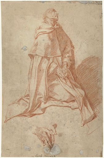Study for a praying, kneeling monk, and profile to the right. Date: 1670 – 1715. Object ID: RP-T-1948-370.
