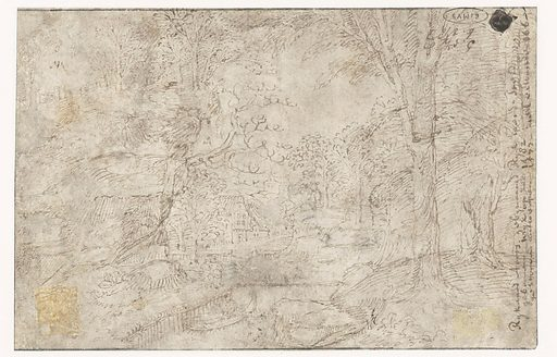 Hilly landscape with farm and river. Origin: Southern Netherlands. Date: c 1540. Object ID: RP-T-1959-264(V).