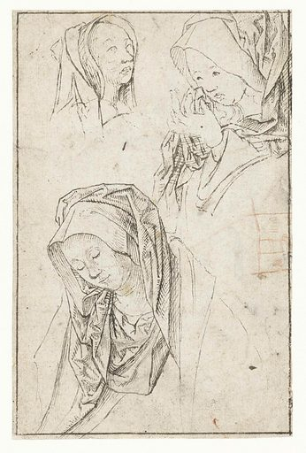 Heads of three grieving women. Date: 1480 – 1533. Object ID: RP-T-1948-389(R).