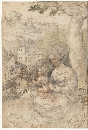 Mary with child, Josef listens to an angel. Origin: Low Countries. Date: 1500 – 1510. Object ID: RP-T-1886-A-603(R).