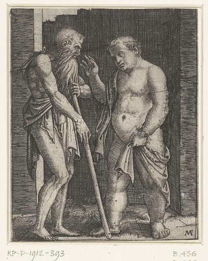 Old man leaning on stick and gesticulating young fat man. Origin: Italy. Date: 1510 – 1527. Object ID: RP-P-1912-393.