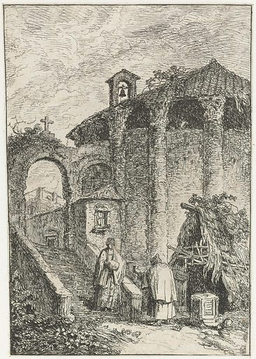 View of houses and antique ruins on the outskirts of the city. Origin: Venice. Date: 1739 – 1740. Object ID: RP-P-1952-24.