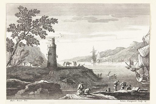 Coastal landscape with lighthouse and ships anchored in bay. Origin: Venice. Date: 1739 – 1740. Object ID: RP-P-1952-34.