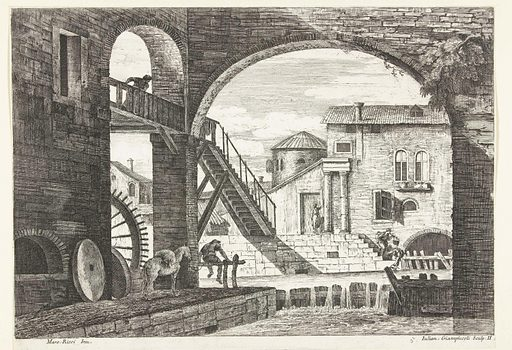 View through arch with bridge at water mill. Origin: Venice. Date: 1739 – 1740. Object ID: RP-P-1952-6.