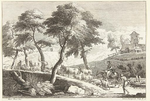 Hilly landscape with shepherds and cattle. Origin: Venice. Date: 1739 – 1740. Object ID: RP-P-1952-16.