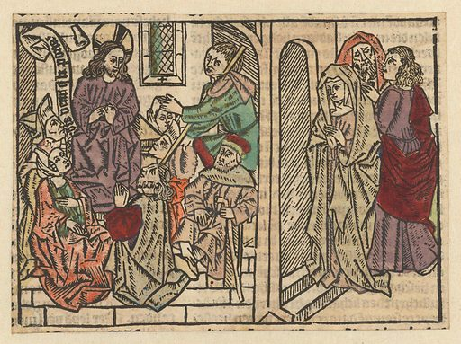 Christ is sought by his mother and brothers. Origin: Low Countries. Date: 1485 – 1491. Object ID: RP-P-1961-722.