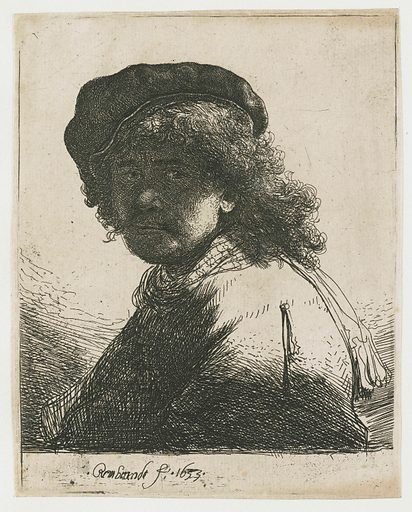 Self-portrait in a cap and scarf with the face dark: bust. Date: 1633. Object ID: RP-P-OB-281.