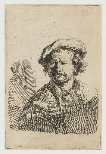 Self-portrait in a flat cap and embroidered dress. Date: c 1642. Object ID: RP-P-OB-288.