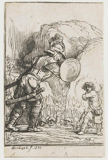 David and Goliath. Date: 1655. Object ID: RP-P-1961-997.