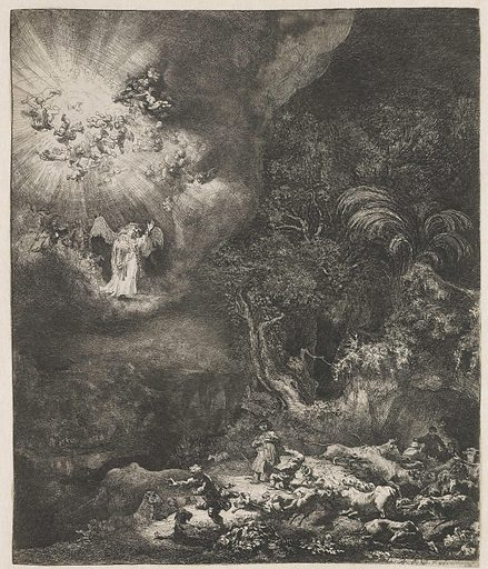The angel appearing to the shepherds. Date: 1634. Object ID: RP-P-1987-163.