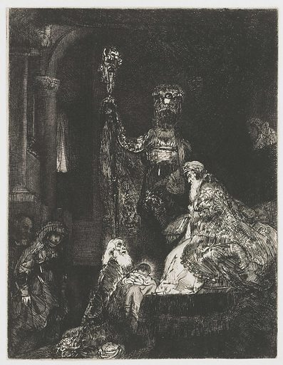 The presentation in the temple in the dark manner. Date: c 1654. Object ID: RP-P-1962-28.